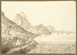 Southern view of the lake, Murutal, and a bungalow built by Christopher Webb Smith about 4 miles from Gaya (Bihar). 28 December 1824